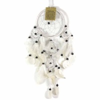 12cm Dream Catcher White Web Design with Feathers, Shells, Beads