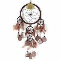 16cm Dream Catcher Brown Web Design with Feathers, Shells, Beads
