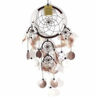 16cm Dream Catcher Brown/White Web Design with Feathers, Shells, Beads