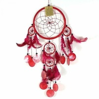16cm Dream Catcher Red Web Design with Pink Feathers, Shells, Beads