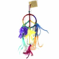 9cm Dream Catcher Leather Rainbow Peace Symbol Design with Feathers