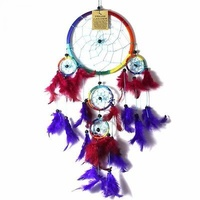 16cm Dream Catcher Rainbow Web Design with Multi Coloured Feathers