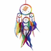 12cm Dream Catcher Beaded Rainbow Web Design with Feathers, Beads