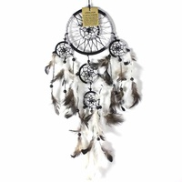 Black 12cm Dream Catcher Metallic Web Design with Feathers and Beads