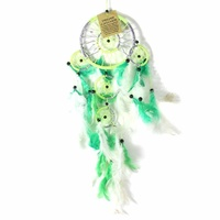 Green 12cm Dream Catcher Metallic Web Design with Feathers and Beads