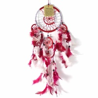 Red 12cm Dream Catcher Metallic Web Design with Feathers and Beads