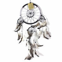Black 16cm Dream Catcher Metallic Web Design with Feathers and Beads