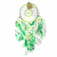 Green 16cm Dream Catcher Metallic Web Design with Feathers and Beads