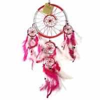 Red 16cm Dream Catcher Metallic Web Design with Pink & White Feathers and Beads