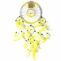 Yellow 16cm Dream Catcher Metallic Web Design with Feathers and Beads