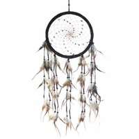 22cm Traditional Dream Catcher Black web leather with stones fine feathers