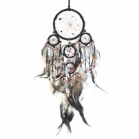 12cm Traditional Dream Catcher Black web leather with stones/beads feathers