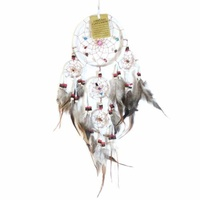 12cm Traditional Dream Catcher White web leather with stones/beads feathers