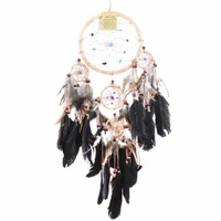 17cm Traditional Dream Catcher Beige web leather with stones/beads feathers