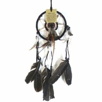 12cm Traditional Dream Catcher Black Web Leather Banding with Feathers and Bone