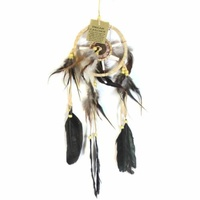 12cm Traditional Dream Catcher Beige Web Leather Banding with Feathers and Bone
