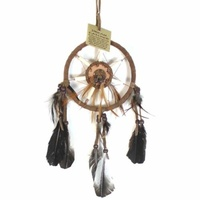 12cm Traditional Dream Catcher Brown Web Leather Banding with Feathers and Bone