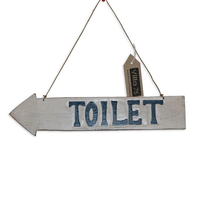 "40cm ""Toilet"" Hanging Arrow Sign / Plaque, Beach Theme Double Sided Directional"