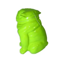 31.5cm Fluro Green British BullDog Designer Resin Statue / Ornament