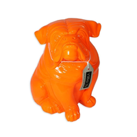 31.5cm Sitting Fluro Orange British BullDog Designer Resin Statue / Ornament