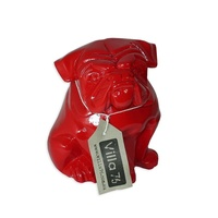 16.5cm Sitting Red British Bull Dog Designer Resin Statue/Orniment Bulldog