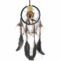 17cm Traditional Dream Catcher Black Web Leather Banding with Feathers and Bone