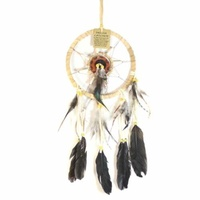 17cm Traditional Dream Catcher Beige Web Leather Banding with Feathers and Bone