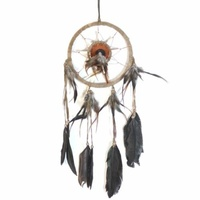 17cm Traditional Dream Catcher Brown Web Leather Banding with Feathers and Bone