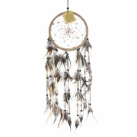 17cm Traditional Dream Catcher Tan web leather with lighter stones fine feathers