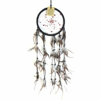 17cm Traditional Dream Catcher Black web leather with stones fine feathers