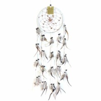 17cm Traditional Dream Catcher Beige web leather with stones fine feathers