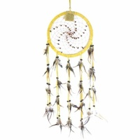 17cm Traditional Dream Catcher Cream web leather with blue stones fine feathers