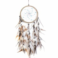 17cm Traditional Dream Catcher Tan web leather with blue stones fine feathers