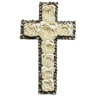 40cm Crucifix Haulstellum Shell White Rose Design