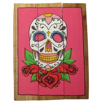 Pink Sugar Skull 40x31cm Wooden Hanging Sign Beach Theme