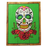 Green Sugar Skull 40x31cm Wooden Hanging Sign Beach Theme
