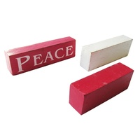 JOY HOPE PEACE 3 Wooden Blocks self standing sigs 18cm Red and White Wash  Vintage Style