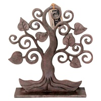 27cm Hand Carved Tree of Life Wooden Deco Piece in Dark Brown, Self Standing
