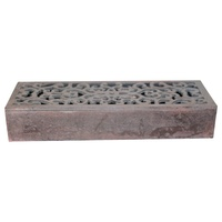 45cm Hand Carved Wooden Box in Dark Brown with Vine Design