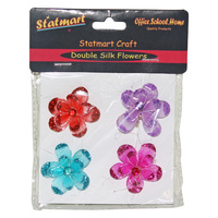 4pce Craft Silk Blooming Flowers With Gem Centre 4cm Embellishment