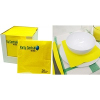 1 Pack of 20pce x YELLOW Napkins - 33cm. 2 Ply. Great for All Party Occasions.