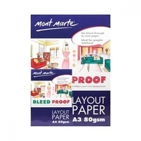 1pce Mont Marte Bleedproof Layout Pad 80gsm 50 Sheets, Marker Paper, A3 or A4
