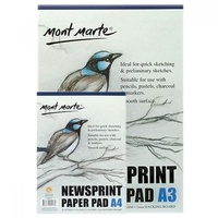 1pce Mont Marte Newsprint Paper Pad 50gsm 100 Sheets, A3 or A4