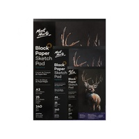 1pce Mont Marte Black Paper Sketch Pad 140gsm 25 Sheets, A3 A4 A5, Sketching Paper