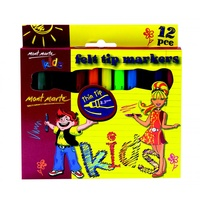Mont Marte Kids Felt Tip Markers 12pce - Thin Tip 2.3mm