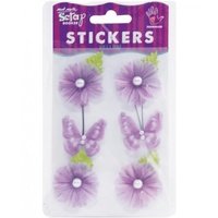 Mont Marte Scrapbooking Stickers - V Bloom w/Butterflies Purple 6pce For Scrapbook Craft