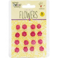 Mont Marte Scrapbooking Flowers - Micro Roses Strawberry Fields 16pce For Scrapbook Craft