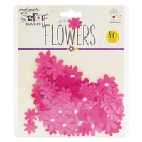 Mont Marte Scrapbooking Flowers - Jewelled Floretes Strawberry 80pce For Scrapbook Craft