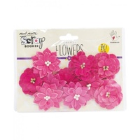 Mont Marte Scrapbooking Flowers - Serenade Blooms Strawberry 10pce For Scrapbook Craft