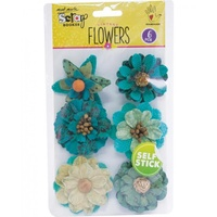 Mont Marte Scrapbooking Flowers - Corella Flowers Rustic Teal 6pce For Scrapbook Craft